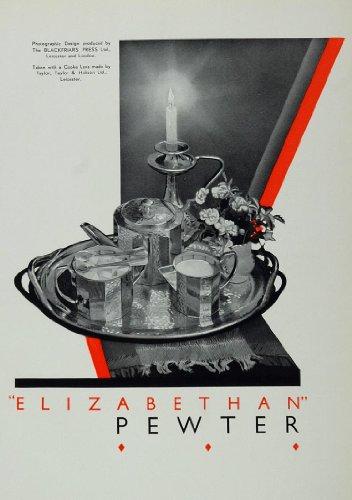 1933 Photo Print Elizabethan Pewter Tea Service Tray - Original Photo Image Print