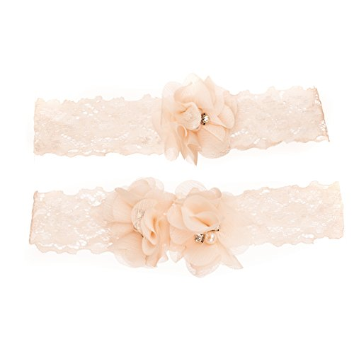 Vintage Wedding Stretch Lace Floral Garter Set -Antique White/Ivory w/Flowers -2 pack