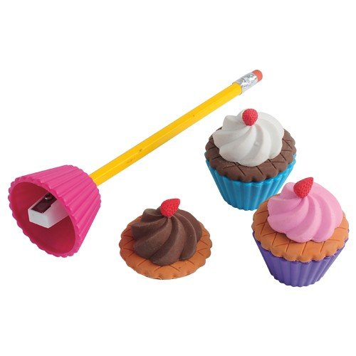 Lot Of 6 Assorted Cupcake Design Erasers And Pencil Sharpeners