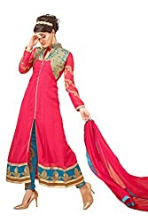 YOUR CHOICE Georgette Pink Embroideried Women's Straight Suit HTS1005