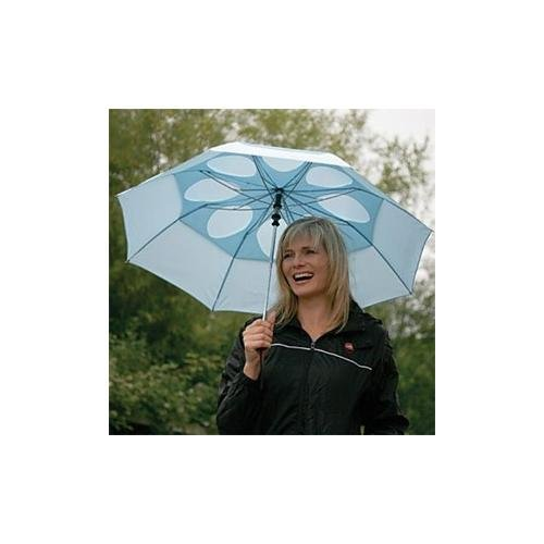 STAYDRY AUTO OPEN AIR VENTED WINDPROOF UMBRELLA. Double Canopy with innovative Air Flow Vents-Black