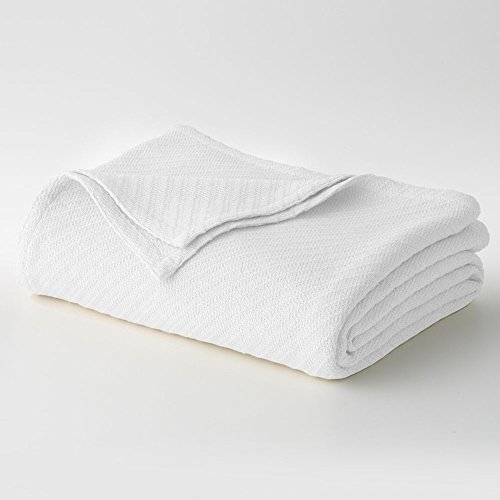 Cotton Craft - 100% Soft Premium Cotton Thermal Blanket - Full/Queen White - Snuggle in these Super Soft Cozy Cotton Blankets - Perfect for Layering any Bed - Provides Comfort and Warmth for years (Thermal Blankets Queen Size compare prices)