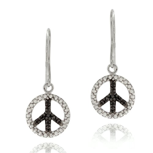 Sterling Silver Black Diamond Accent Peace Dangling Earrings