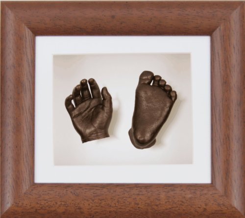 New Baby Gift 3D Casting Kit Silver Hand /& Feet Casts Mahogany Gold Trim Frame