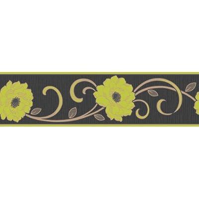 Fine Decor Florentina Wallpaper Border Black Lime Green Gold by Fine Decor