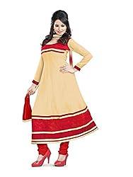 Parinaaz fashion Chhaya Georgette Chiku Unstitched Anarkali salwar suit dress material