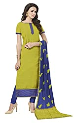 Khoobee Presents South Cotton Dress Material(Mehandi,Blue)