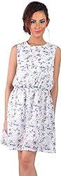 Mabyn Women's A-Line Dress (SSSSD03 _L, White, L)