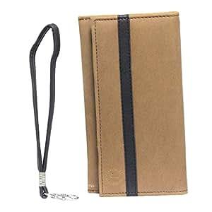 Jo Jo A5 Nillofer Leather Wallet Universal Pouch Cover Case For Meizu PRO 5 (Ubuntu) Tan Black