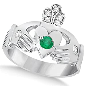 Allurez Diamond and Green Emerald Ring Claddagh Irish 14k White Gold (0.35ct) - M