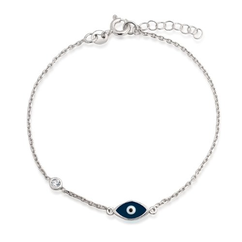 Bling Jewelry Navy Blue Evil Eye Sterling Silver CZ Bracelet 7 Inch