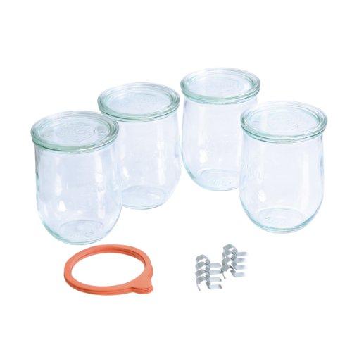 weck-einmachglas-set-4-einweckglaser-mit-glasdekel-inkl-5-gummiringen-und-8-einmachklammern-ideal-zu