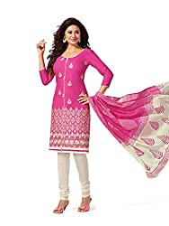 PShopee Pink & White Cotton Reshim Embroidery Unstitched Salwar Suit Material
