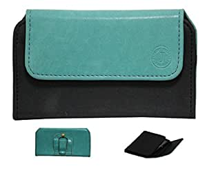 Jo Jo A4 Nillofer Belt Case Mobile Leather Carry Pouch Holder Cover Clip For Intex Aqua I2Light Blue Black