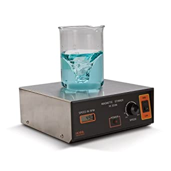 Hanna Instruments HI 303N Stainless Steel Two-Speed Magnetic Stirrer with Tachometer and Micro Stir Bar, 180mm Length x 180mm Width x 70mm Height, 100 - 1000rpm, 115/240 VAC, 0 to 50 Degree C