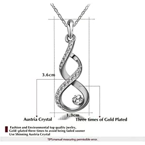 Yoursfs Twisted Style Crystal Earring and Necklace Set 18k White Gold Plated