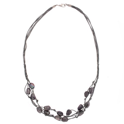 Pearl Layered Jessica Cord Seaside Necklace in Grey Slate