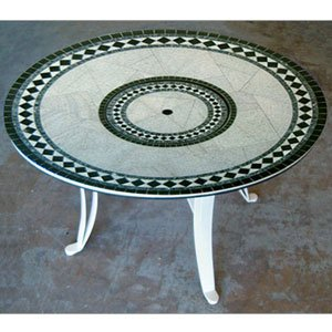 """Universal Style Fire Table-29"""" Tall X 48"""" Diameter, Morocco Fire Design, Earth Tone Granite Colors, Bronze Powder Coat"""
