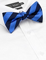 Sartorial Pure Silk Textured Striped Bow Tie