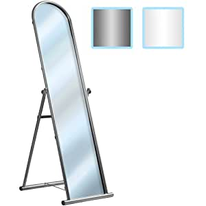 Free Standing Mirror (Metal) Large Folding Bedroom Dressing Full Length Cheval (Silver)
