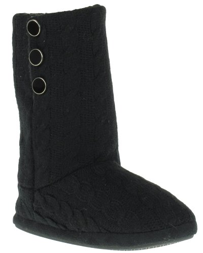 Cheap Capelli New York Tall Cable Knit Boot With 3 Snap Buttons Ladies Indoor Slipper Black 6/7 (B005WUSVT0)
