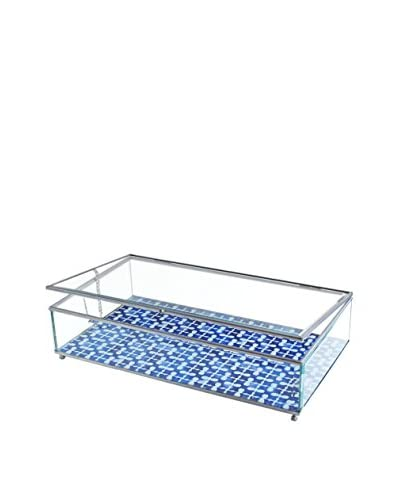 American Atelier Large Medallion Squares Glass Display Box, Blue