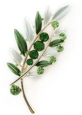 Beautiful elegant shine olive leaf style brooch (green)
