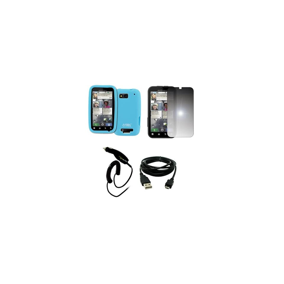 EMPIRE Light Blue Silicone Skin Case Cover + Mirror Screen Protector + Car Charger (CLA) + USB Data Cable for T Mobile Motorola Defy MB525