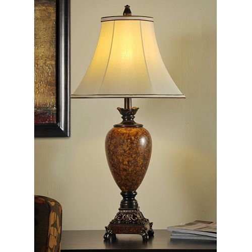 StyleCraft Home L3-1119-DS Trieste Marble Finish Table Lamp 32.3