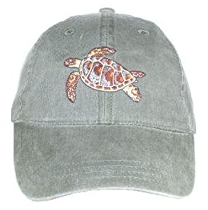 Green Sea Turtle Embroidered Cotton Cap
