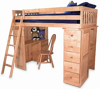 Buy Low Price Comfortable Tradewins Twin Size Loft Bed with Computer Desk (B0016LAWFU)