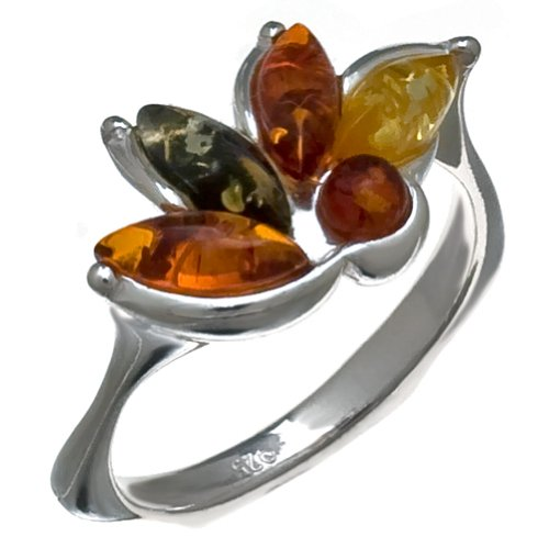 Baltic Multicolor and Sterling Silver Very Small Tiny Fantasy Ring Sizes 5,6,7,8,9,10,11,12