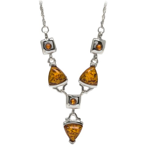 Sterling Silver Honey Amber Modern Necklace