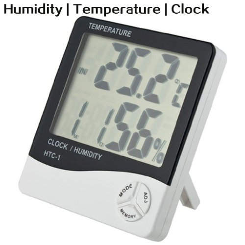Large Screen LCD Display Temperature and Humidity Meter with Alarm Clock Digital Hygrometer Desk-top Placing or Wall Hanging