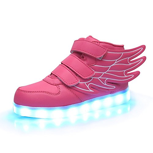 iTURBOS SuperPegasus Hover Light Up Shoes - Light Up LED Shoes for Kids - 7 Static & 3 Dynamic Color Modes, 1 Strobe Mode - Trendy Rechargeable LED Sneakers (Charger Included) Pink 34