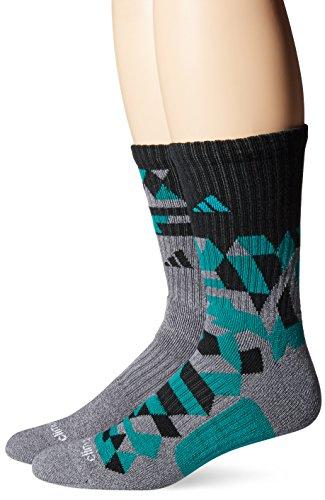 Adidas Men's Crew Socks (2 Pack), One Size, Onix-Light Onix Marl/EQT Green/Black
