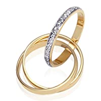 Sophisticated and Stylish: Gold Vermeil Triple Trinity Rolling Rings with CZ Diamond