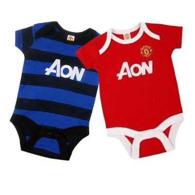 Manchester United FC Baby Bodysuit - 3/6 Months - 2 Pack - Football Gifts