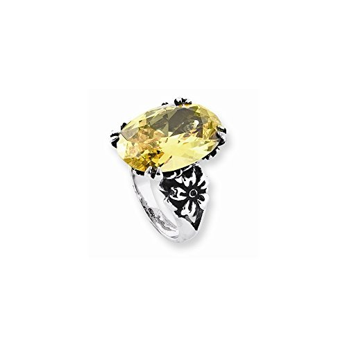 Stainless Steel Yellow Oval Cz With Flower Ring By Ed Hardy Jewelry, Best Quality Free Gift Box Satisfaction Guaranteed
