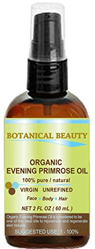 ORGANIC EVENING PRIMROSE OIL. 100% Pure / Natural / Undiluted / Unrefined /Certified Organic/ Cold Pressed Carrier Oil. Rich antioxidant to rejuvenate and moisturize the skin and hair. 2 Fl.oz - 60ml. by Botanical Beauty