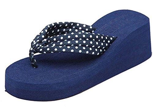 Minetom Donna Dot Stampa Flat Flip Flops Zeppa Piattaforma Sandali Slim Infradito e Ciabatte ( Blu EU 37 )