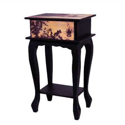 Oriental Furniture Japanese Bedroom Furniture, 28-Inch Ladies On Water Single Drawer Bedside Nightstand End Table front-453304