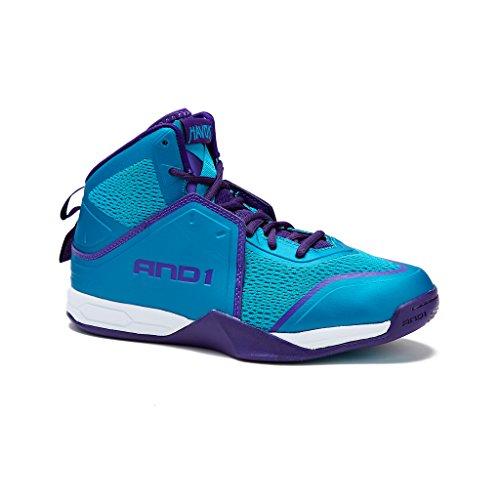 AND1 Mens Havok Basketball Shoe 14 Teal/Purple