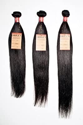 "16"" 18"" 20"" inches 100% Virgin Brazilian Natural Straight Human Hair Weave Extension Unprocessed 3 pack Bundle Black"