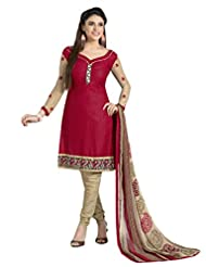 Inddus Women Maroon & Beige Cotton Unstitched Dress Material