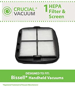 1 Bissell Hand Vac HEPA Filter and Filter Screen Fits Bissell Hand Vac Auto-Mate Pet Hair CleanView Vacuum Models 27K6, 33A1B, 47R5A, 47R5B, 33A1, 47R5, 47R51; Replaces Bissell Part # 203-7416, 203-1432, 2037416, 2031432; Designed & Engineered by Crucial
