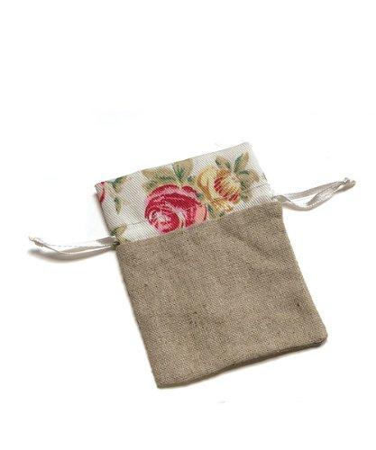 Mini Linen Drawstring Pouch With English Tea Rose Decorative Trim