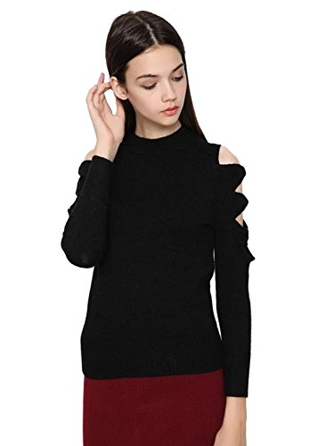 Choies Women Black Cut Out Open Shoulder Knitted Sexy Slim Sweater Tops M