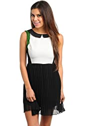G2 Fashion Square Women's Colorblock Peterpan Collar Pleated Dress