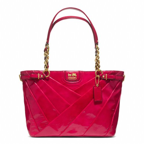 Coach Madison Diagonal Patent Leather Tote Handbag 21300 Punch Pink